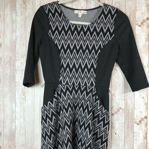 Black Dress with White chevron or geometric print